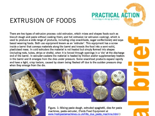 Extrusion of Foods Practical Answers Practical Action