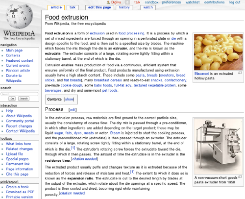Start of Wikipedia's webpage on food extrusion.