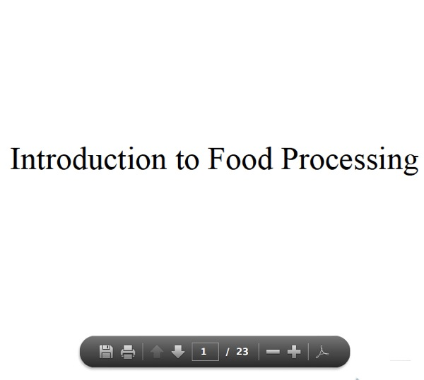 Simple Introduction to Food Processing