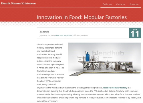 Innovation in Food Modular Factories